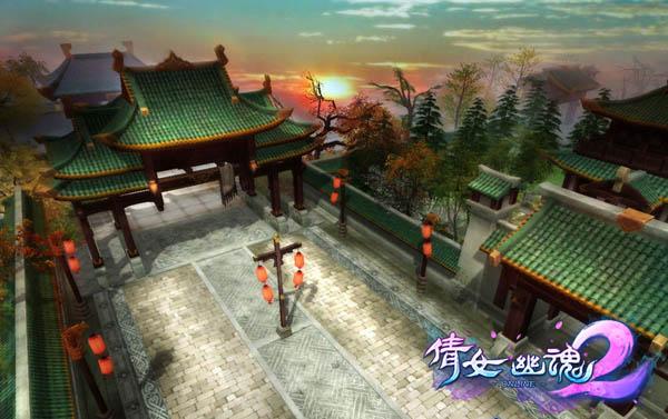 《倩女幽魂》京师保卫战-夕阳下的京城王府街景